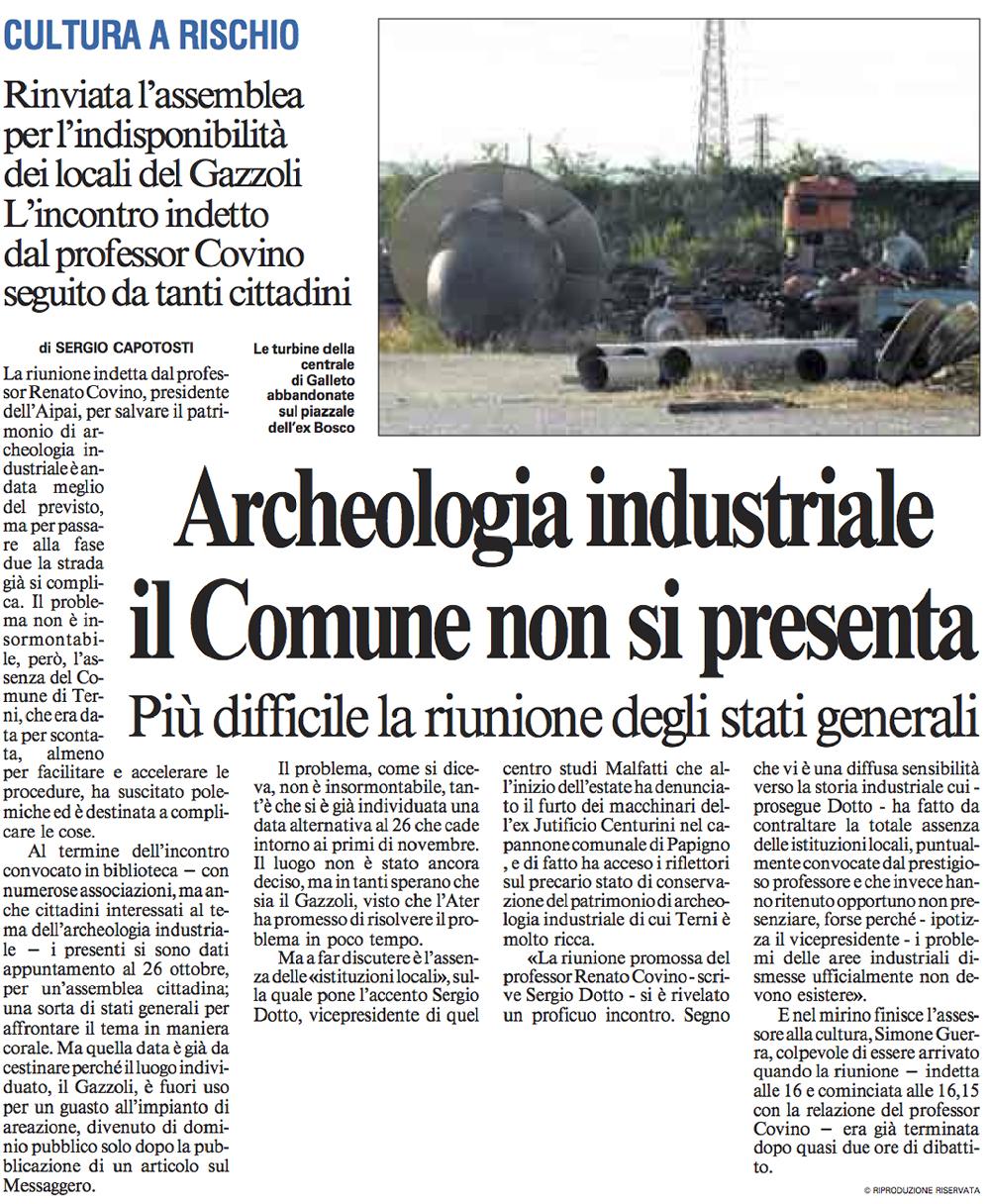 Da Il Messaggero del 24/09/2012, p. 49, articolo di Sergio Capotosti.