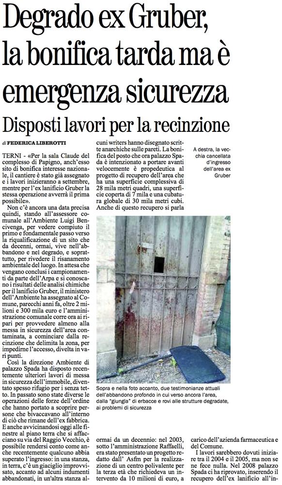 Il Giornale Umbria del 19/08/2013, p. 14.