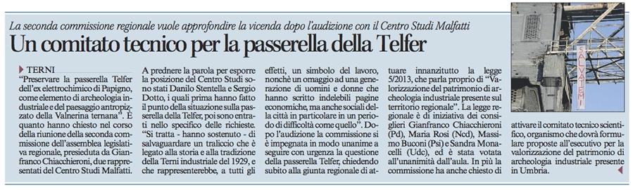 Corriere dell'Umbria del 16/02/2014